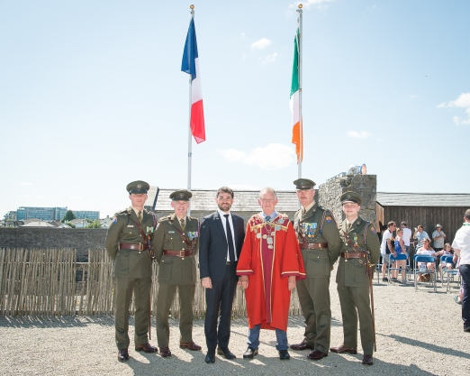 Bastille Day Celebration and commemoration of Limerick's historic ties with France which were held on the grounds of King John's Castle on 14th July 2019, from left to right: Lieutant Owen Lynch - Sarsfield Barracks, Brigadier Sergeant Major Stan Hurley - Sarsfield Barracks, Dr Loic Guyon - Honorary Consul of France in Limerick, Cllr Michael Sheehan Mayor of Limerick City and County / Speaker, Lieutenant Colonel Robert Kiely - Sarsfield Barracks, Lieutenant Mike Moriarty - Sarsfield Barracks, Photo by Morning Star Photography