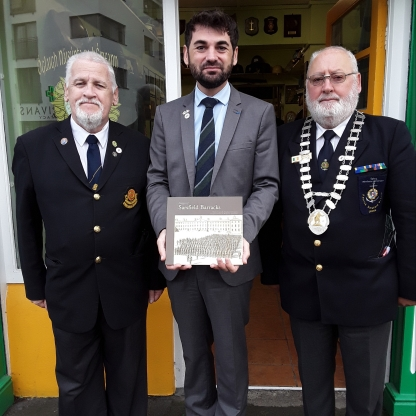 With Denis Carroll, author of 'Images of Sarsfield Barracks' and President Garrett Ryan